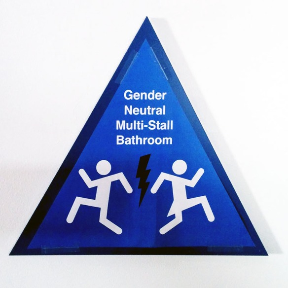 Nongendered toilet sign 1, Electronic Frontier Foundation, California, USA